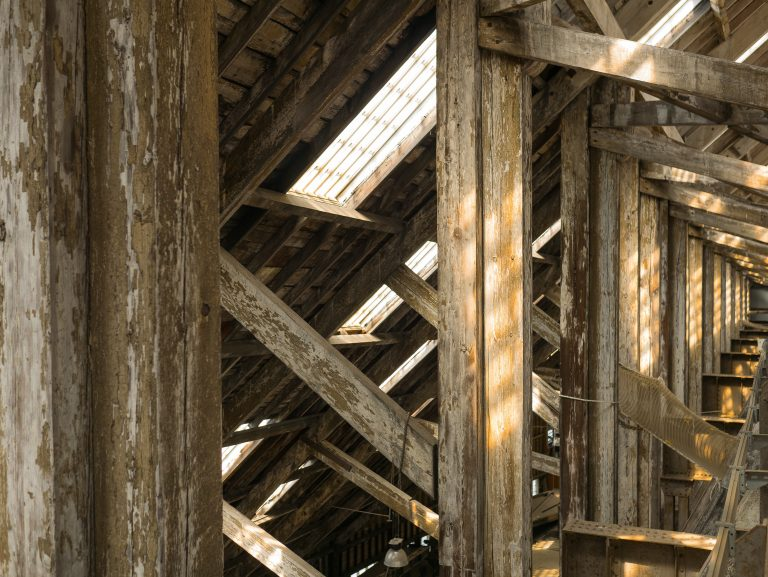Wooden beams under the ceiling